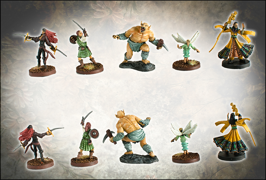 dungeons and dragons miniatures half orc fighter rogue sorcerer