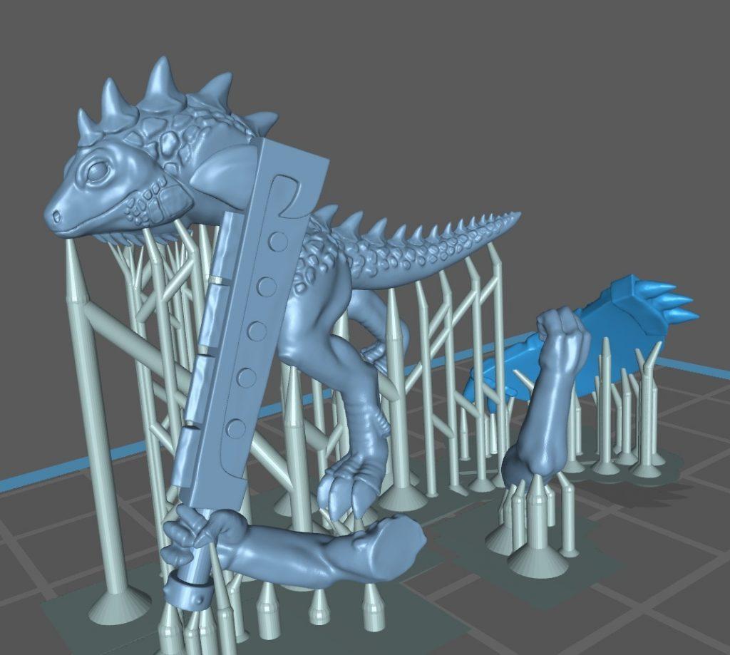 Miniaturen 3d printen, hier een 3d print van Lizardmen met supports